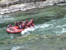 Whitewater rafters getting wet
